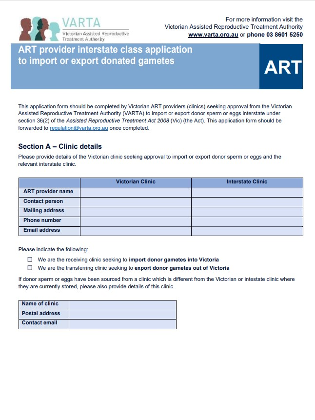 Interstate import export application form for ART providers