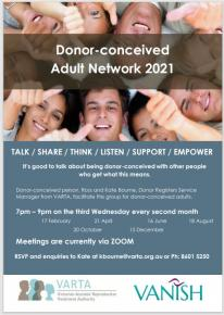 Donor-conceived adult network flyer event details