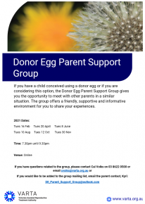 donor egg parent support group flyer information sheet